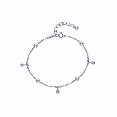 Pearl and diamond station bracelet by Mikimoto