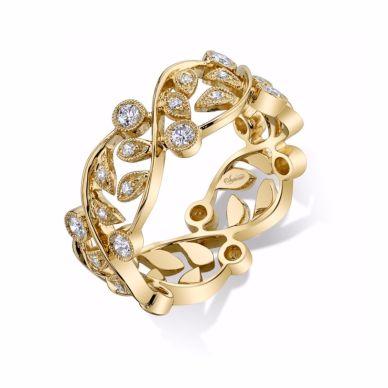 Yellow Gold Floral Diamond Band SJU691R