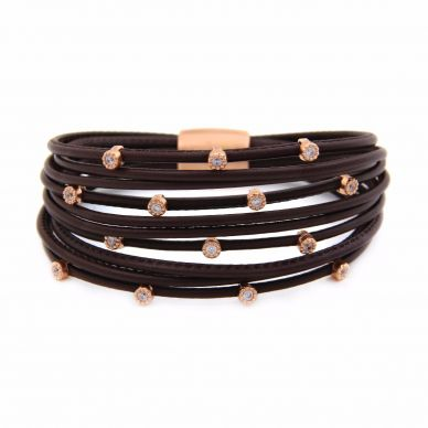 Henderson Collection Luca Leather Bracelet with Rose Sterling silver LBC264-15