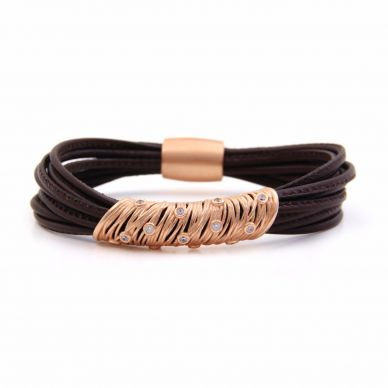 Henderson Collection Chocolate Multi-Strand leather bracelet with sapphires