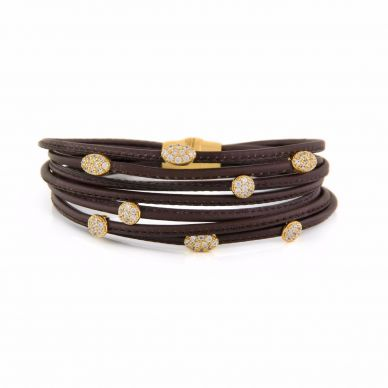 Henderson Collection Luca Leather Bracelet with Rose Sterling Silver
