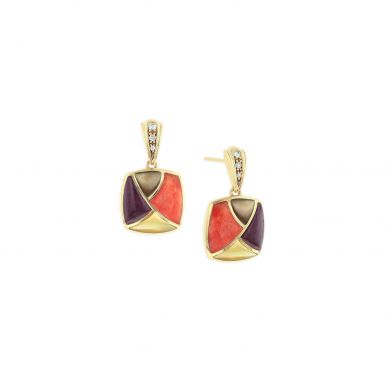 Kabana GECF472MMS Yellow Gold Mother of Pearl, & Spiny Oyster Earrings