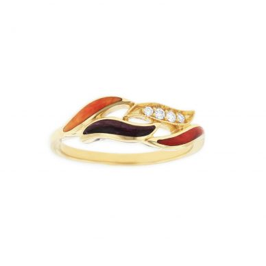 Kabana GRCF714MMS Yellow Gold Red, Purple & Orange Spiny Oyster Ring