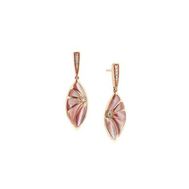 Kabana NECF360MP Rose Gold Diamond and Pink Mother of Pearl Earrings