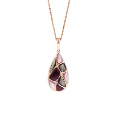 Kabana NPCF424MBP-CH Rose Gold Mother of Pearl & Spiny Oyster Necklace