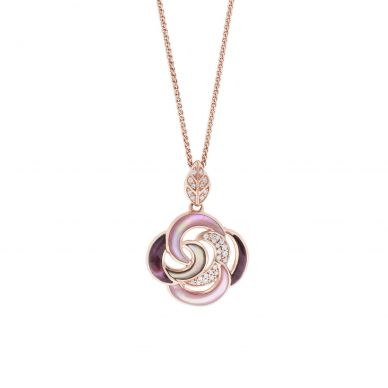 Kabana NPIF060MBP-CH Rose Gold Mother of Pearl & Spiny Oyster Necklace