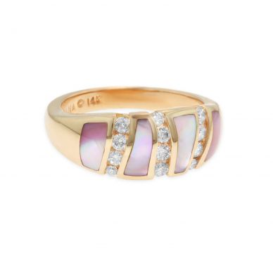 Kabana NRIF395MP Rose Gold Diamond and Pink Mother of Pearl Ring