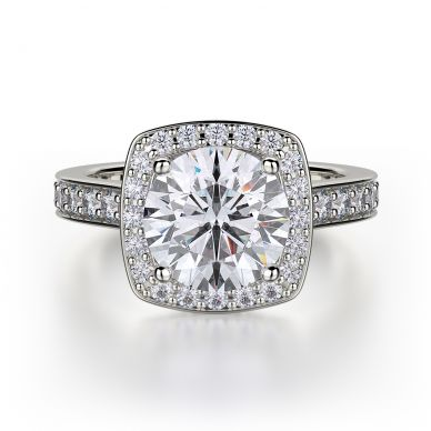 Michael M R378-2 White Gold Round Engagement Ring