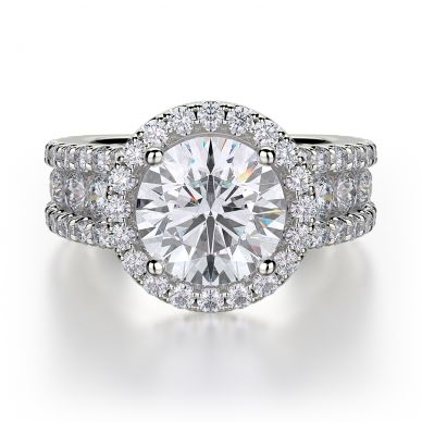 Michael M R396-2 White Gold Round Engagement Ring