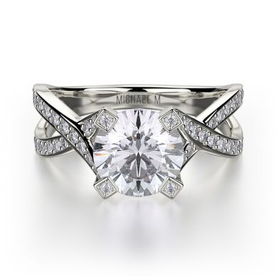 Michael M R411-1 White Gold Round Engagement Ring