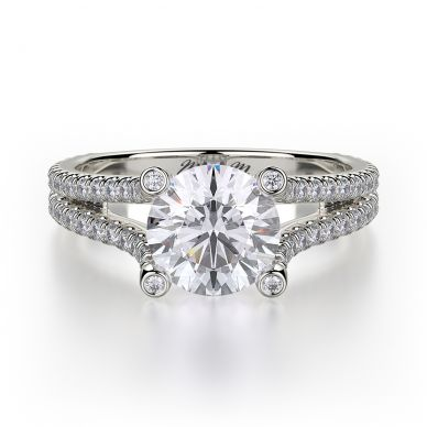 Michael M R487-1 White Gold Round Engagement Ring