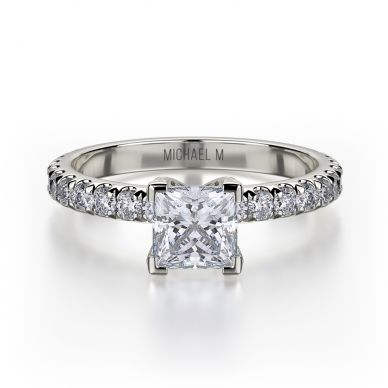 Michael M R493-0-75 White Gold Princess Cut Engagement Ring