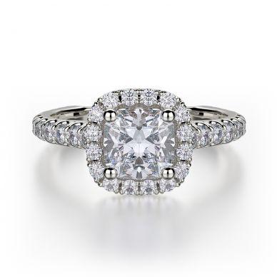 Michael M R559-1 White Gold Princess Cut Engagement Ring