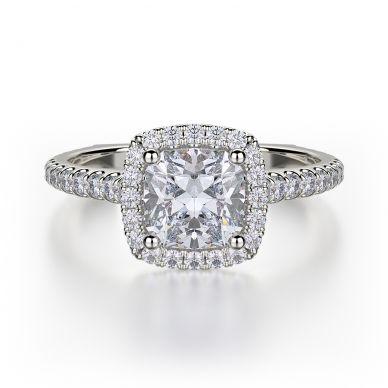 Michael M R559S-1 Platinum Cushion-Cut-Engagement Ring