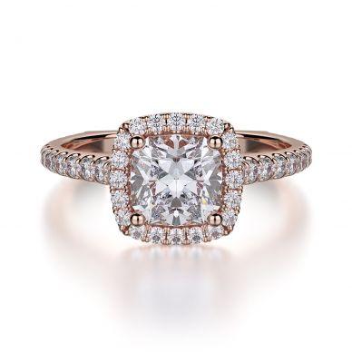 Michael M R559S-1 Rose Gold Cushion-Cut-Engagement Ring