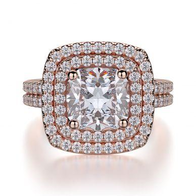 Michael M R560-2 Rose Gold Cushion-Cut-Engagement Ring