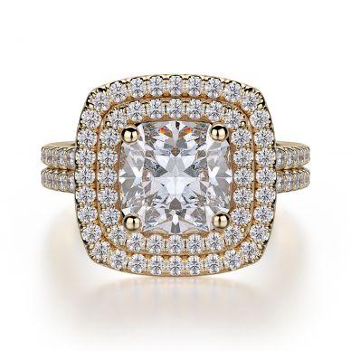Michael M R560-2 Yellow Gold Cushion-Cut-Engagement Ring