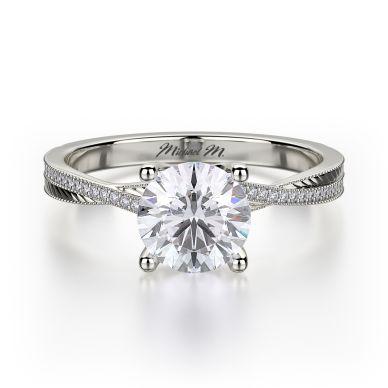 Michael M R575-1 Platinum Round Engagement Ring