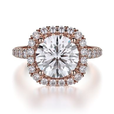 Michael M R660-2 Rose Gold Round Engagement Ring