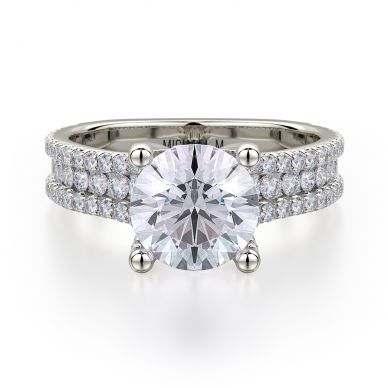 Michael M R671-1-5 White Gold Round Engagement Ring