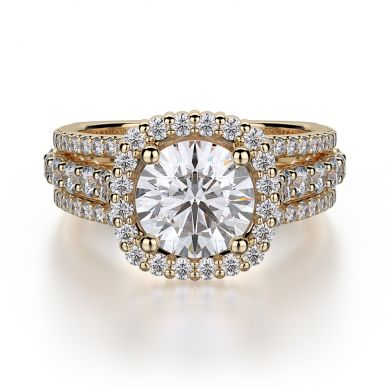 Michael M R681-1-5 Yellow Gold Round Engagement Ring