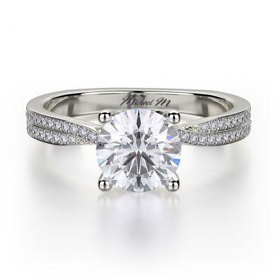 Michael M R694-1 Platinum Round Engagement Ring