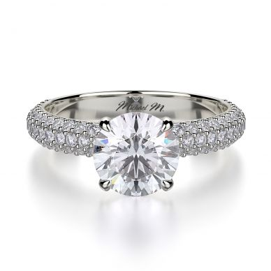 Michael M R699-1-5 White Gold Round Engagement Ring