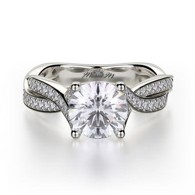 Michael M R709-1-25 White Gold Round Engagement Ring