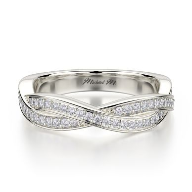 Michael M R709B White Gold Wedding Ring for Women