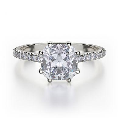 Michael M R712-1-5 White Gold Cushion-Engagement Ring