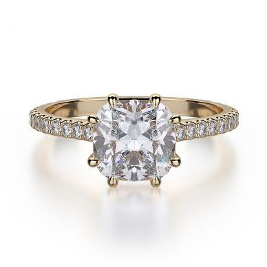 Michael M R712-1-5 Yellow Gold Cushion-Engagement Ring