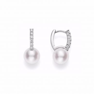 Diamond and pearl drop earrings MEA10228ADXW