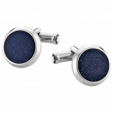 Montblanc square stainless steel cufflinks with blue inlay