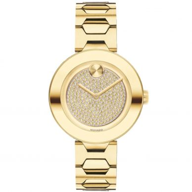Movado Pave Crystal Silver Tone Womens Watch
