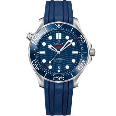 Omega Seamaster Professional 300m Blue Dial Watch with Rubber Strap
