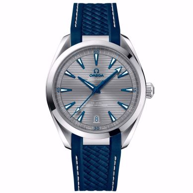 omega men's seamster watch with blue strap and gray dial