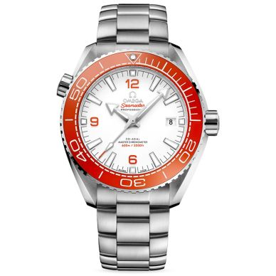 Omega Men's Seamaster Planet Ocean Watch with Orange Bezel and White Dial