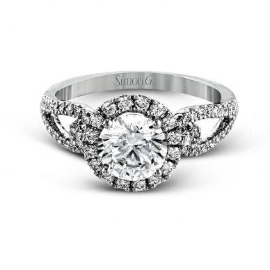 Simon G LP2027 White Gold Round Cut Engagement Ring