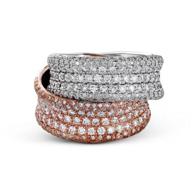 Simon G. LP2321 White and Rose Gold Diamond Statement Ring for Women