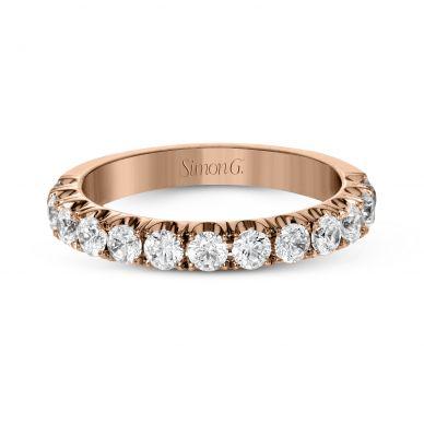 Simon G. LP2349 Rose Gold Simple Pave Wedding Ring for Women