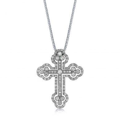 Simon G. LP4075 White Gold Diamond Cross Pendant Necklace for Women