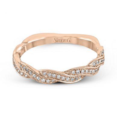 Simon G. MR1498-B Rose Gold Twist Shank Wedding Ring for Women
