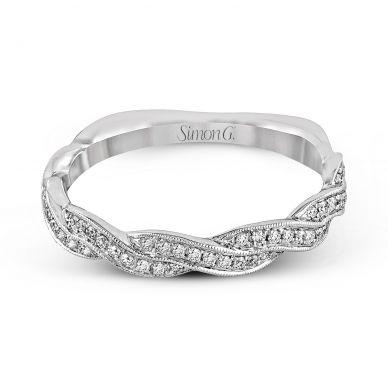Simon G. MR1498-B White Gold Infinity Shank Wedding Ring for Women
