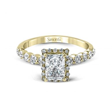 Simon G MR2088 Yellow Gold Radiant Cut Engagement Ring