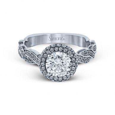 Simon G MR2133 Platinum Round Cut Engagement Ring