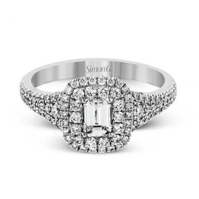 Simon G MR2274 White Gold Emerald Cut Engagement Ring