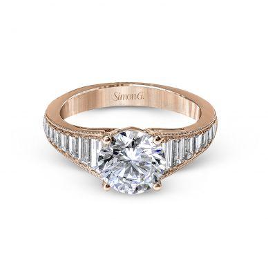 Simon G MR2358 Rose Gold Round Cut Engagement Ring