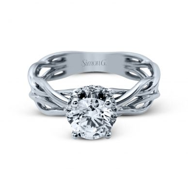 Simon G MR2511 White Gold Round Cut Engagement Ring