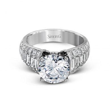 Simon G MR2534 White Gold Round Cut Engagement Ring