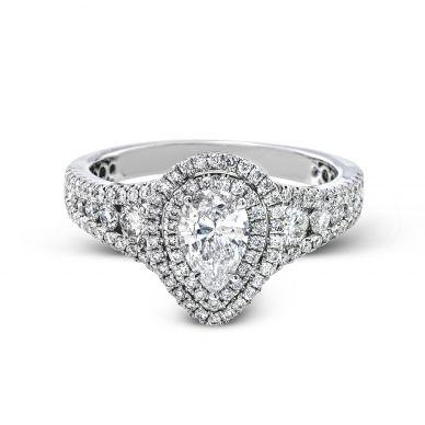 Simon G MR2592 White Gold Pear Cut Engagement Ring
